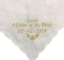 Ladies Personalised Scalloped Handkerchief